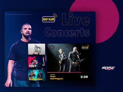 The Noise Music App live streams shot graphic design webdesign music ux ui