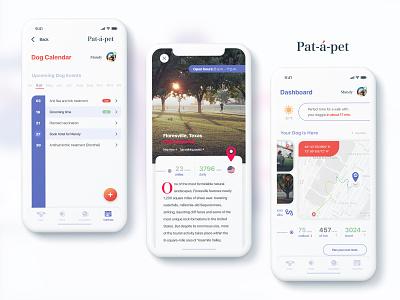 Pat-a-pet application screens routes location calendar dashboard pets dogs application ios branding logo ux ui