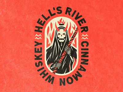 Hell's River Unused Concept label type branding illustrator devil whiskey hell skeleton identity logo illustration ill