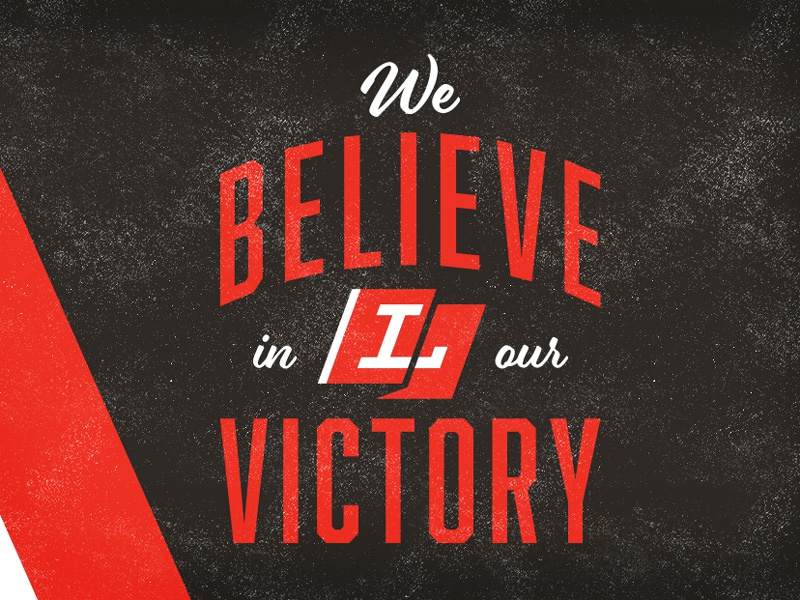 We Believe in our Victory flag type lodge lodge design indianapolis local typography design