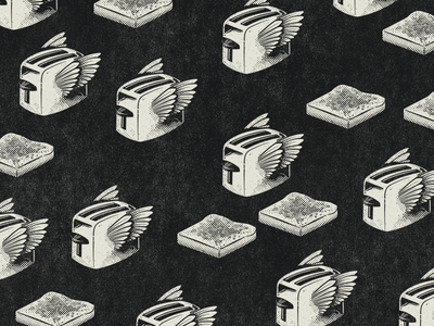 Flying Toasters texture halftone toast toasters retro vintage doodle illustration graphic design