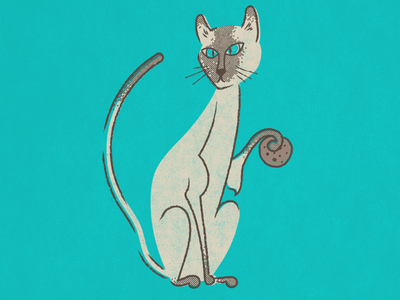 Elvis Wants A Cookie cookie halftone vector drawing siamese cat vintage illustration