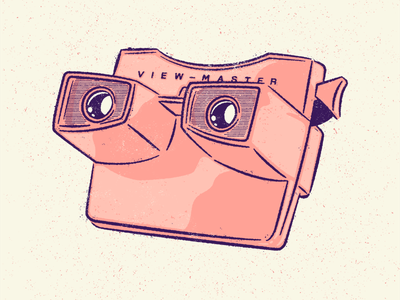 View-Master screenprint toy halftone vector drawing vintage illustration