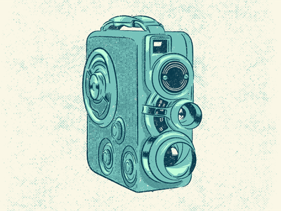8mm screenprint camera halftone vector drawing vintage illustration