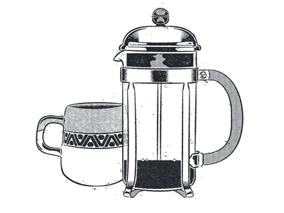 Hot Off The Press french press screenprint coffee halftone vector drawing vintage illustration