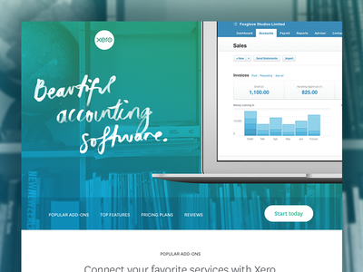 Beautiful accounting color wash blue green photo background macbook device corporate business web flat
