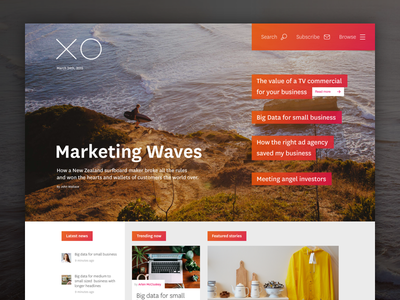 XO Magazine content fluid ui web website photographic magazine