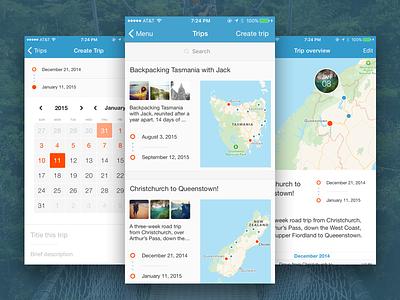 Day One – Trips journal maps date picker calendar setup design ux ui app
