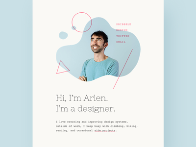 Personal site single-page slab-serif typography website