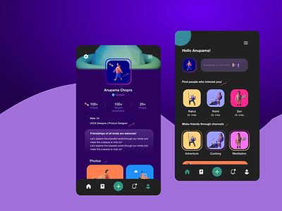 Social media app UI darktheme android app appdesign mobile mobiledesign branding illustration design uiuxdesign uidesign ux ui