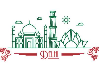 Delhi line art delhi green red monument taj mahal lotus temple qutub minar