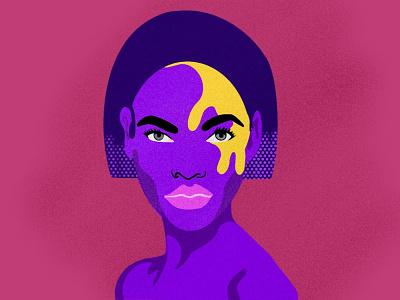Lady Illustration drawing art purple women poster art of the day procreate design app vector icon illustration graphic design
