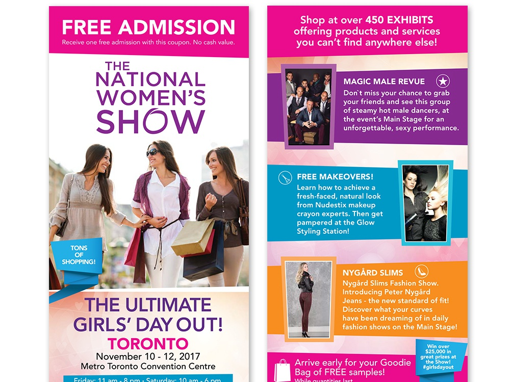 The National Women's Show - Flyer branding events shows print graphic flyer design