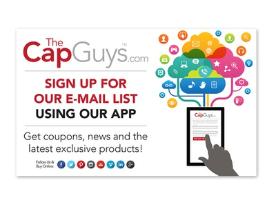 The Cap Guys - Event Poster corporate brand identity thecapguys apparel retail products app signup email event caps hats promotion poster identity graphic design branding design