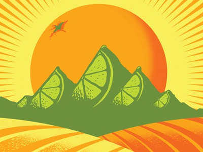 Fruited Plains fruit citrus wheat beer label mountains