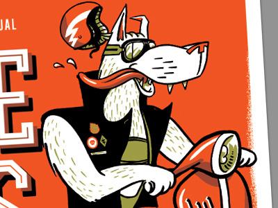 Leisure Games 14' poster design illustration moped wolf biker
