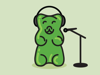 Gummy Recording Session recording microphone headphones candy gummi gummy bear illustration editorial