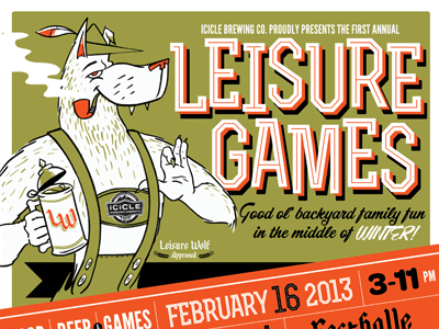 Leisure Wolf Approved beer wolf games poster