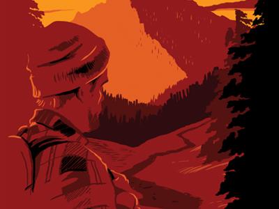 beer branding illustration - sketching sketch national park beer sunset