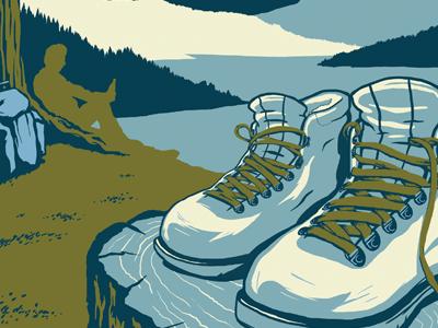 beer branding illustration - sketching sketch national park beer hiking boots