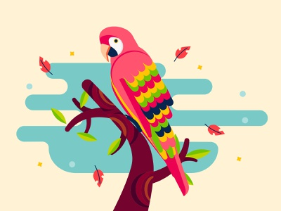 Macaw bird nature leaves stars flower tree flat design flat illustration spring macaw colorful animal exotic geometric art ararauana arara papagayo parrot pink south america