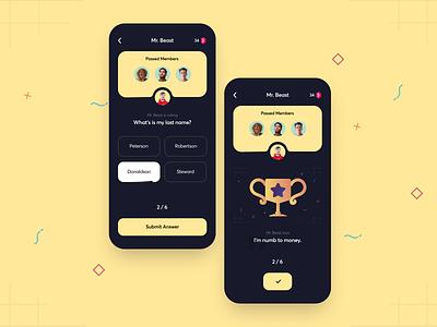 App concept for fan community chat people media social investors vc instagram influencer community product design mobile web design app profile colorful illustration quiz interface branding typography