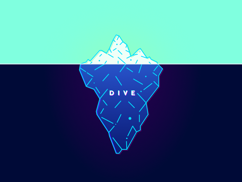 Dive typography type vector line ice deep blue minimal iceberg water