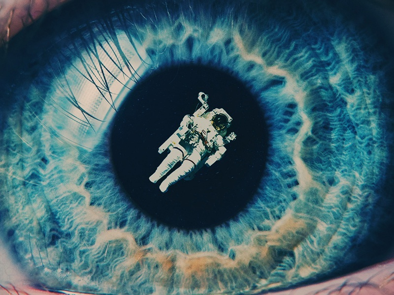 Float On collage floating eye space astronaut