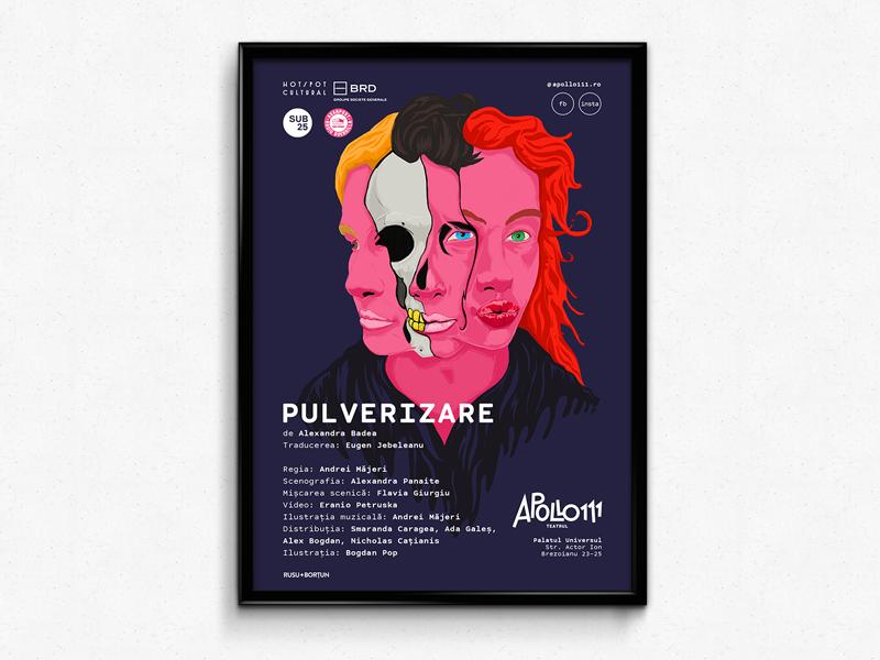 Pulverize theatre poster pink portrait skull illustration