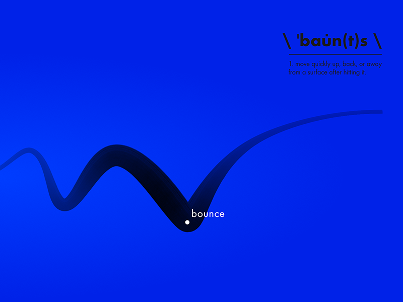 Bounce layout typography type blue graphic line minimal definition dictionary bounce