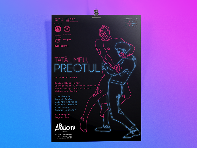 My father, the priest poster minimal line drawing line cyan magenta neon illustration