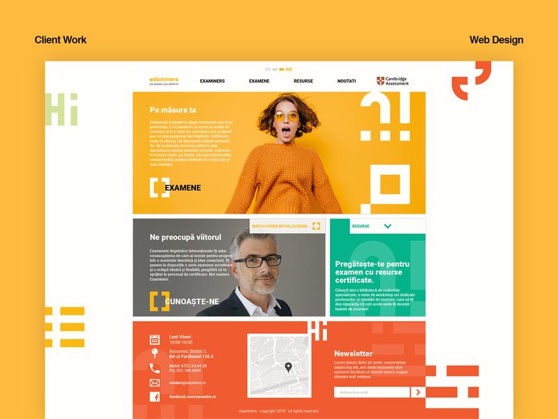 Examiners web landing page design web design design ui