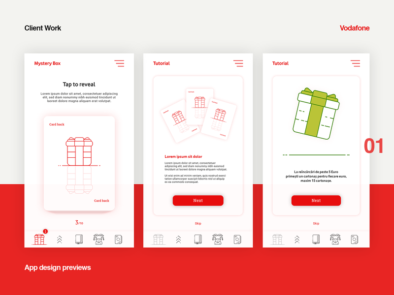App design layout mystery box red vodafone ui designers user interface design app concept app design ui designer ui design