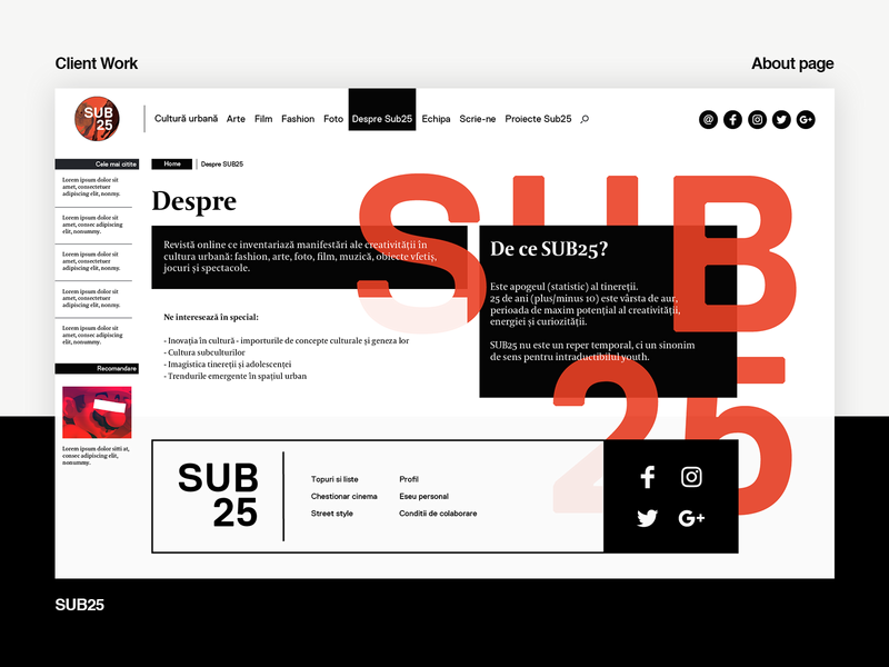sub25 layout webdesign web design about page