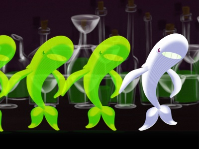 Dribble ind 2 Spirit whales alcohol dance glasses animation whale