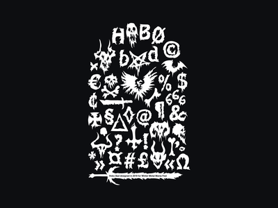 Hobo Bad shirt motive hobo metal icons typedesign typeface font design font