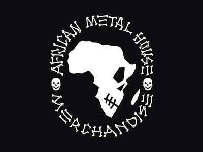 African Metal House Merchandise typogaphy metal africa skull bones logo