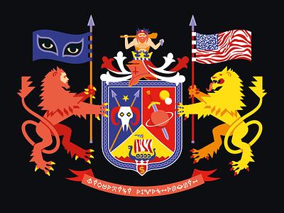 Coat of Arms hero glyphs neanderthal helmet knight planet sword ship viking skull lions coat of arms heraldry