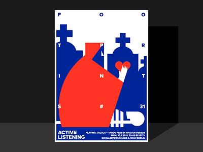 Poster for Footprints #31 skeleton music heart graveyard poster