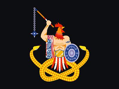 Abraxas shield demon snake chicken illustraion