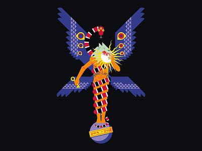Arimanius thug life sun wings tupac god roman snake lion illustration vector