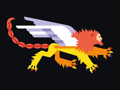 Winged Manticore heraldry manticore face wings scorpion lion vector illustration