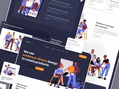 Landing Page For An Agency Portfolio home page welcome screen website design portfolio page illustrations portfolio ux agency presentation animated illustration page web design website web user interface ux ui interface design