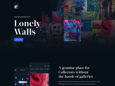 Lonely Walls Landing Page Animation art product art outlet gallery art works marketplace art marketplace dark theme landing page motion motion design animation website web design web landing ux ui user interface interface design