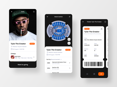 App Concept For Booking Tickets application mobile mobile app event event app concert ticket app tickets booking booking tickets ticket app design app ux ui user interface interface design
