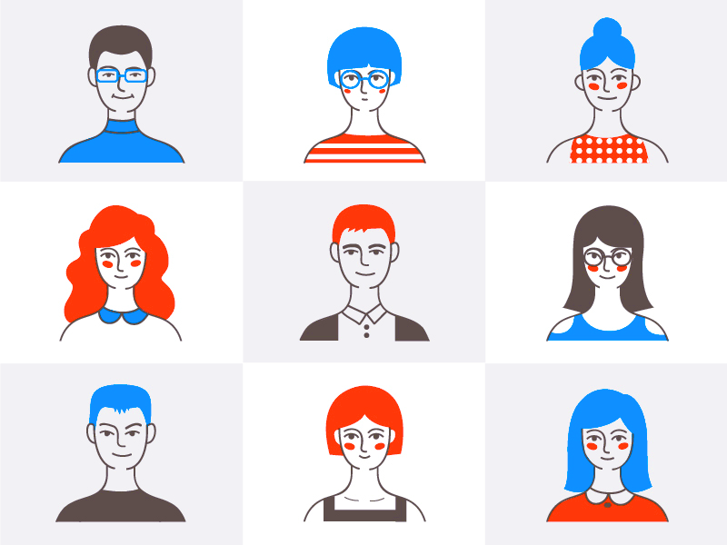 Some of my colleagues portrait design flat