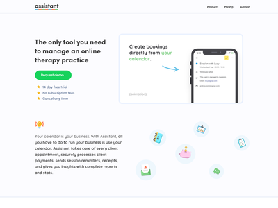 Assistant - Landing Page timewith landing page app mental health