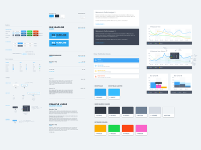 Divvit UI Style Guide swatch notification switch radio tooltip graphs buttons typography color guide style guide