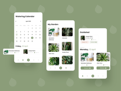Plant Watering App app mobile app plant care watering plant adobexd ui design mobile ui