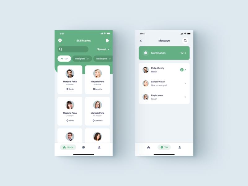 App visul design market skill message tab green white minimal app